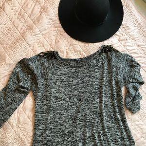 Grey cold shoulder embellished sweater